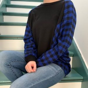 Peek A Boo Side Plaid With Solid Front Top